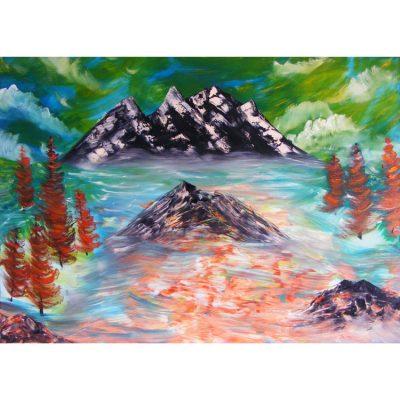 tapyba, paveikslas, paveikslai, audra kalnuose, aliejine, peizazas, gediminas bytautas