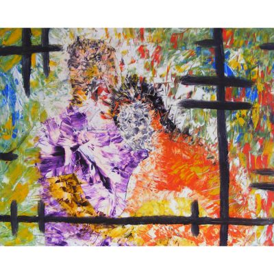 tapyba, paveikslas, paveikslai, dviese, aliejine, abstrakcija, fantastiniai, zmones, gediminas Bytautas