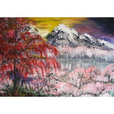 tapyba, paveikslas, paveikslai, kalnai, painting, mountains