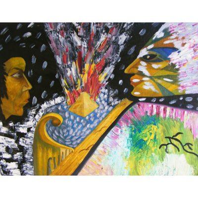 tapyba, paveikslas, paveikslai, zvilgsnis, zmones, menas, abstrakcija, aliejine, gediminas bytautas
