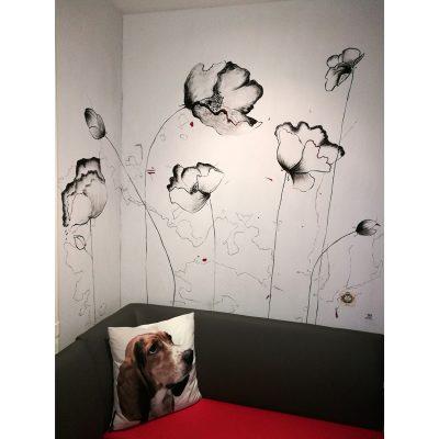 sienų tapyba, aguonos, freska, wall painting, Neringa Bytautienė