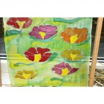 Šilko tapyba, tapyba ant šilko, šilkas, meno kursai, tapybos pamoka, tapymas, silkas, silko, silk, gėlės
