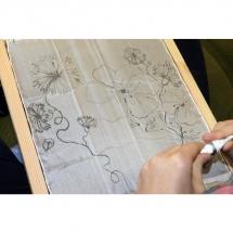 Šilko tapyba, tapyba ant šilko, šilkas, meno kursai, tapybos pamoka, tapymas, silkas, silko, silk, gėlė, gėlės