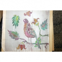 Šilko tapyba, tapyba ant šilko, šilkas, meno kursai, tapybos pamoka, tapymas, silkas, silko, silk, paukštis, gėlės, lapai