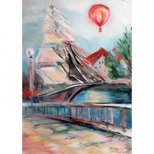 danes upe, meridianas, aliejine tapyba, paveikslas, paveikslai, aliejumi tapytas paveikslas, miestas, odile norvilaite, bytautiene