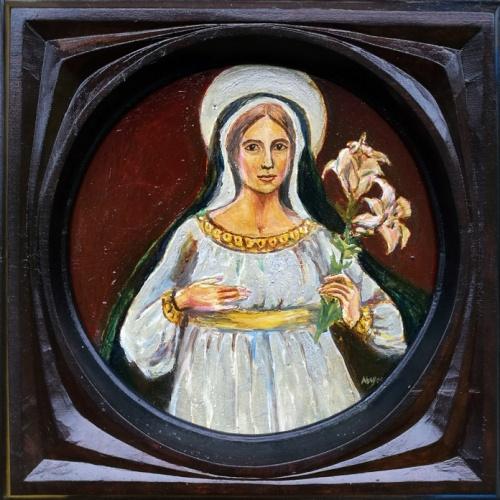 dievo motina, religinis, aliejumi tapytas, paveikslas, aliejine tapyba, aliejus, paveikslai, menas, odile norvilaite, bytautiene