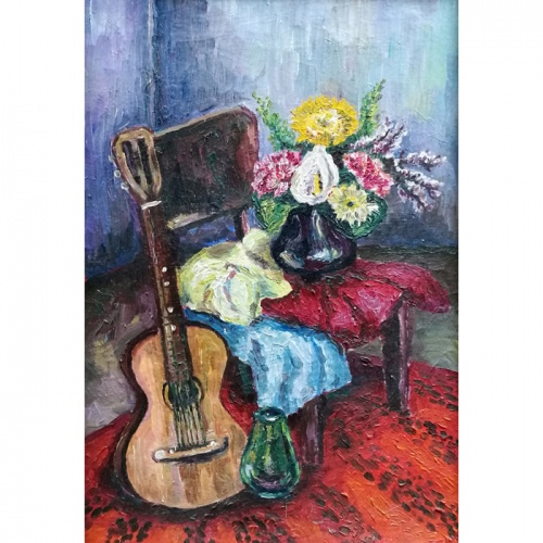 guitar, oil painting, still life, painting, paintings, art, cardboard, odile norvilaite, bytautiene