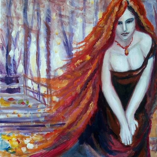 rudens dama, rudens, dama, aliejine tapyba, aliejumi tapytas paveikslas, tapyba, paveikslai, paveikslas, menas, ruduo, moteris, Odile Norvilaite Bytautiene