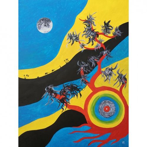 pilnatis, paveikslas, paveikslai, aliejus, aliejine tapyba, drobe, menas, Gediminas Bytautas, simbolizmas, abstrakcija, aliejumi tapyti paveikslai, aliejumi tapytas paveikslas