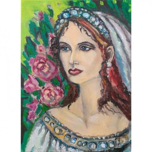perlu princese, princese, perlu, aliejine tapyba, tapyba, aliejine, paveikslai, paveikslas, menas, aliejumi tapyti paveikslai, aliejumi tapytas paveikslas, Odile Norvilaite, bytautiene, zmones, moteris