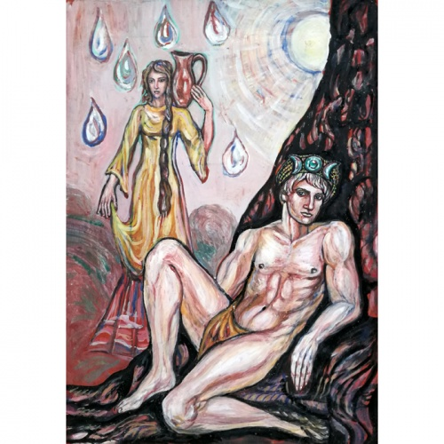 vandens neseja, vandens, neseja, paveikslas, paveikslai, zmones, vyras, moteris, menas, tapyba, guasas, popierius, Odile, Odile Norvilaite, bytautiene