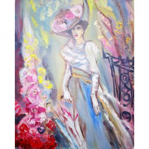 ponia gelyne, ponia, gelyne, gelynas, paveikslai su gelem, geles, tapyba, paveikslas, paveikslai, aliejine tapyba, menas, moteris, zmones, Odile, Norvilaite