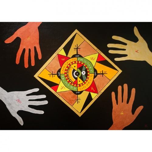 regejimas, tapyba, aliejine tapyba, aliejus, aliejumi tapytas paveikslas, paveikslas, paveikslai, fantastinis, mistinis, mistinis paveikslas, gediminas bytautas, menas, abstrakcija, abstraktus menas, simboliai, mistiniai simboliai, rankos