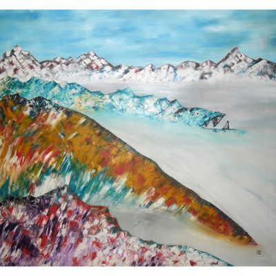 in the, alps, mountains, landscape, abstract, abstraction, oil painting, paintings, art, realism, gediminas bytautas