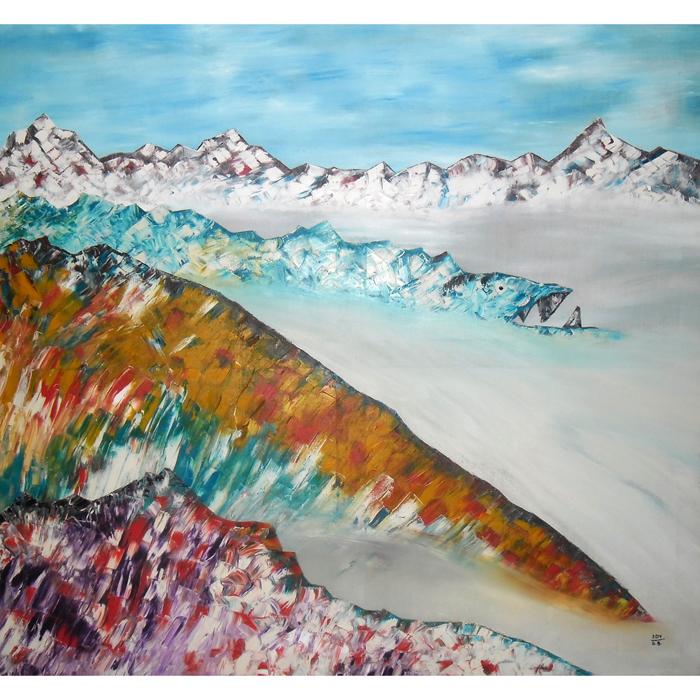 alpese, alpes, kalnai, aliejumi, tapytas, paveikslas, tapyba, peizazas, abstrakcija, menas, paveikslai, gediminas bytautas, abstraktus
