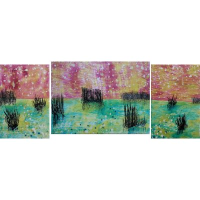 aurora, oil paintings, painting, landscape, art, gediminas bytautas, triptych
