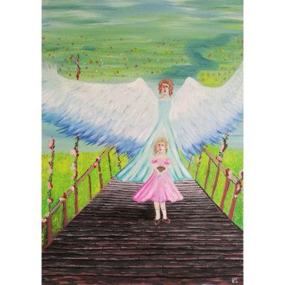 tapyba, paveikslas, mergaitė ir angelas, agirl and an angel, oil painting