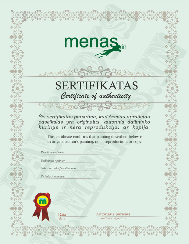certificate, authencity, art