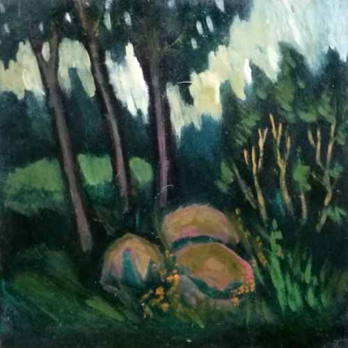 stones, pine forest, landscape, oil painting, paintings, plywood, art, odile norvilaite, bytautiene