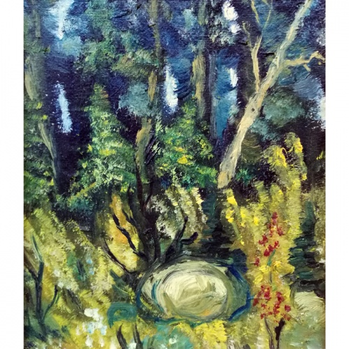 stone, forest, landscape, miniature, oil painting, paintings, art, cardboard, artwork, odile norvilaite, bytautiene