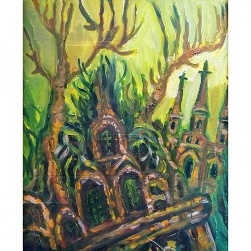 overground, kingdom, fantastic, oil painting, town, cardboard, art, paintings, odile norvilaite, bytautiene