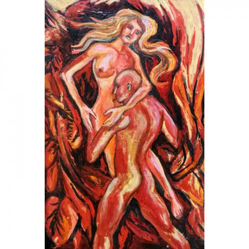 passion, erotic, oil painting, paintings, art, people, cardboard, artwork, odile norvilaite, bytautiene