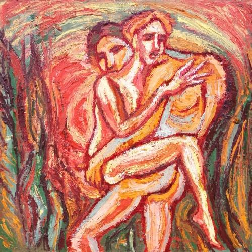 hugging, erotic, oil painting, paintings, art, people, cardboard, odile norvilaite, bytautiene