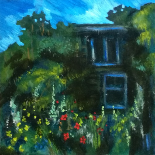abandoned house, landscape, town, oil, painting, paintings, original art, odile norvilaite, bytautiene