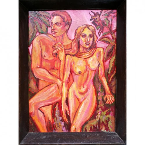 golden evening, erotic, framed, miniature, oil painting, paintings, people, art, odile norvilaite, bytautiene