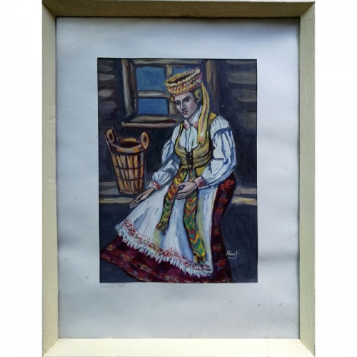 national costume, authentic, framed, painting, gouache, paper, paintings, art, historic, odile norvilaite, bytautiene