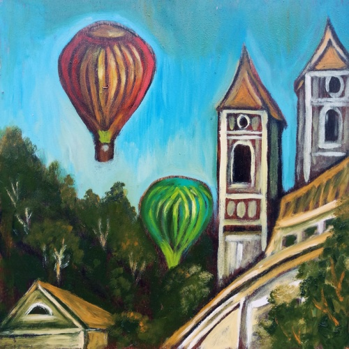 balionu, fiesta Kaune, tapyba, aliejine, paveikslas, miestas, urbanistinis, paveikslai, menas, kaunas odile norvilaite, bytautiene
