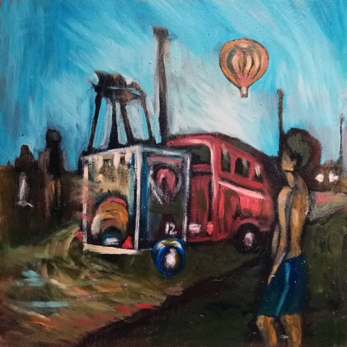 balloon, fiesta, urbanistic, balloons, town, city, oil painting, plywood, paintings, people, art, odile norvilaite, bytautiene