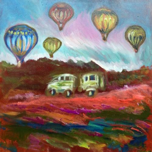 balionu fiesta, balionai, miestas, paveikslas, peizažas, tapyba, aliejus, paveikslai, menas, odile norvilaite, norvilaite