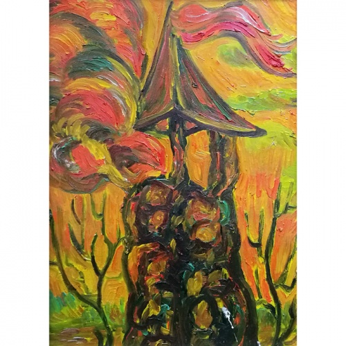 tower, with, flag, original oil painting, paintings, art, cardboard, town. odile norvilaite, bytautiene