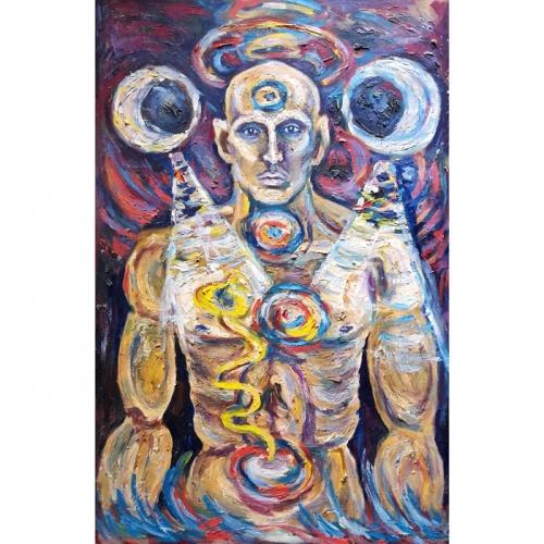 chakras, religious, bioenergetic, fantastic, oil painting, paintings, art, cardboard, odile norvilaite, bytautiene