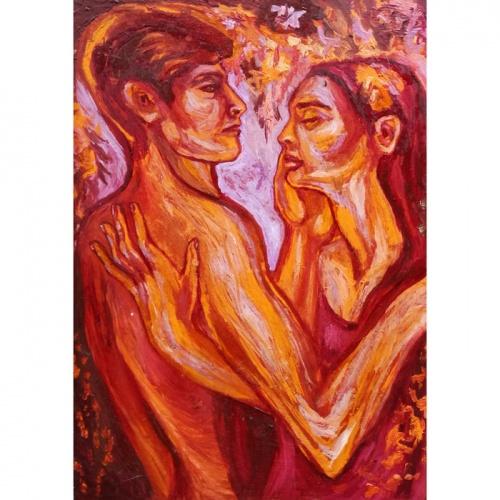 gypsy love, sensual, erotic, oil painting, paintings, people, art, odile norvilaite, bytautiene