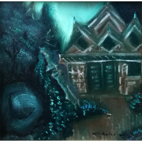 dragon's house, dragons, house, original oil painting, plywood, art, paintings, fantastic, odile norvilaite, bytautiene