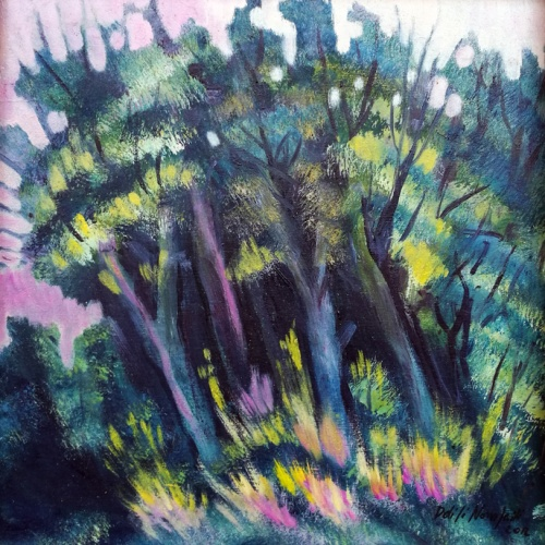 aspen grove, original, oil painting, paintings, landscape, forest, aspen, art, odile norvilaite, bytautiene