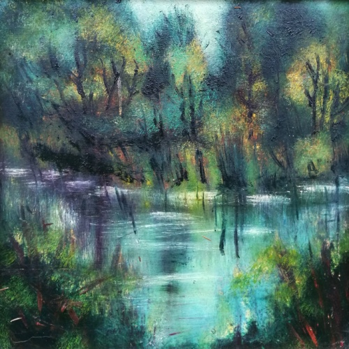 lake shore, shore, lake, original landscape, landscape, painting, paintings, oil painting, art, odile norvilaite