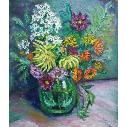 flowers, jar, flowers in jar, flower, painting, oil painting, paintings, art, cardboard, still life