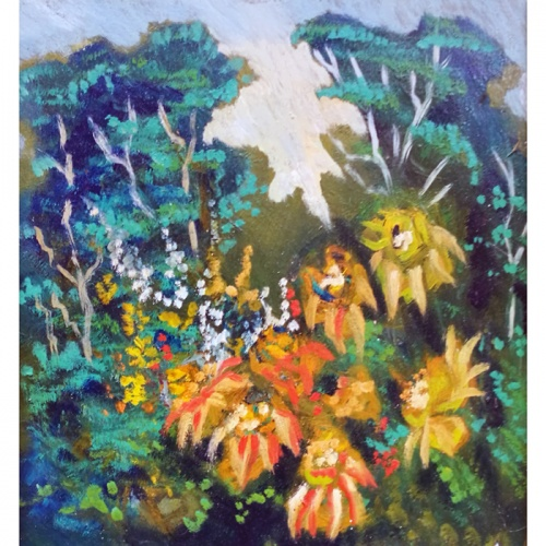 in the woods, woods, flowers, oil painting with flowers, oil painting, paintings, painting, landscape, art
