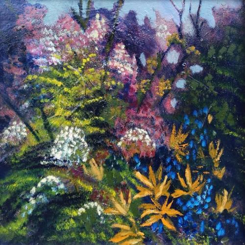 flowers in garden, flowers, garden, oil painting, painting, paintings, art, odile norvilaite, bytautiene