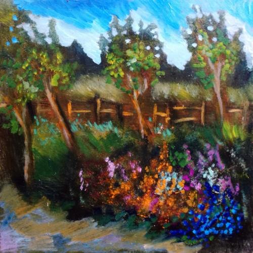 gelynas sode, sode, gelynas, paveikslai su gelemis, peizazas, tapyba, paveikslai, paveikslas, odile norvilaite, menas