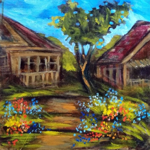 flowerpot, flowers, town, landscape, art, modern art, painting, paintings, paintings with flowers, odile norvilaite