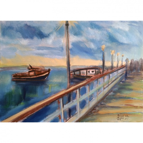 bridge, bridge of palanga, palanga, oil painting on canvas, paintings, art, Palanga simbol, odile norvilaite