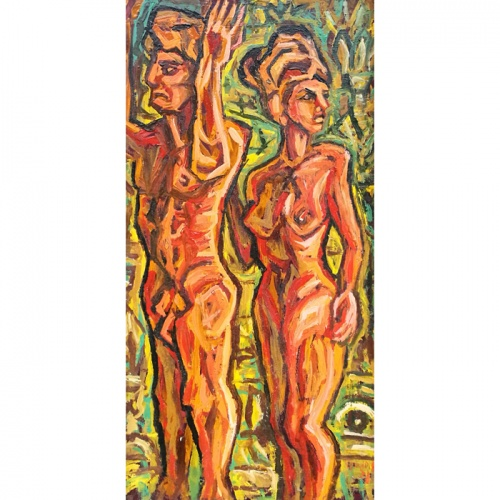 etruscan love, etruscans, love, erotic, erotica, oil painting, paintings, cardboard, art, odile norvilaite, bytautiene