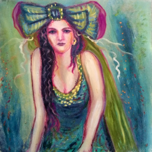 fay, fairy, oil painting, paintings, painting, art, modern art, people, plywood, fantastic, odile norvilaite, bytautiene