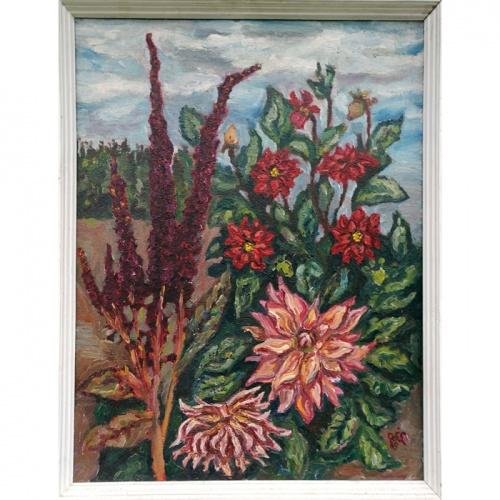 dahlias, flowers, dahlias flowers. oil painting, paintings, painting, art, odile norvilaite, bytautiene