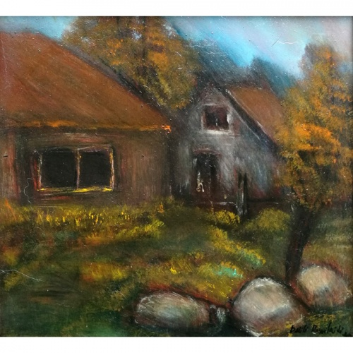 Neighboring Farmstead, neighboring, farmstead, urbanistic, landscape, oil painting, plywood, art, paintings, painting, town, odile norvilaite