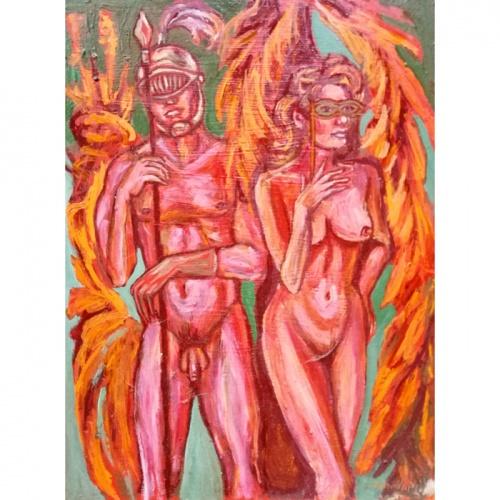 karnavalas, erotika, erotinis, erotinis menas, erotinis paveikslas, paveikslai, paveikslas, tapyba, erotiniai paveikslai, menas, odile norvilaite